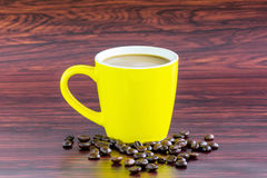 Coffee yellow cup Royalty Free Stock Images
