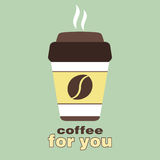 Coffee for you, sticker in the window, vector logo, web icon, button, label, sign, pictograph. Flat colored cup of Royalty Free Stock Photo
