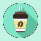 Coffee for you, sticker in the window, vector logo, web icon, button, label, sign, pictograph. Flat colored cup of Stock Images