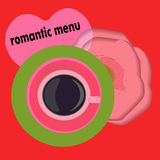 Coffee, yummy, romantic, menu. Rose background. Sketch style, labels, hand drawn . Stock Photos