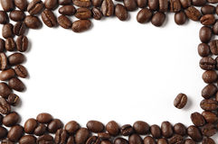 Coffeebean border. Roasted coffeebeans arranged as a frame stock photo