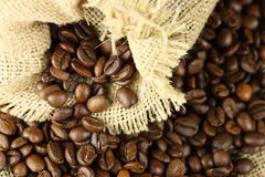 Coffeebeans in bag Royalty Free Stock Photos