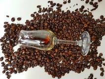 Coffeebeans bean drink beverage whitebackground. Coffee coffetime liqueur brown aroma Royalty Free Stock Photo