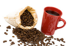 Coffeebeans cup2 Stock Photography