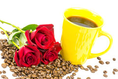 Coffeebeans cup roses 4 Stock Photo