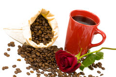 Coffeebeans cup roses Stock Photo