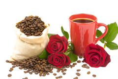Coffeebeans cup roses 2 Stock Photography