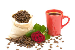 Coffeebeans cup roses 3 Stock Photography