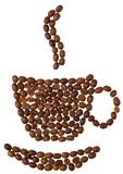 Coffeebeans cup on white background Royalty Free Stock Image