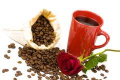 Coffeebeans kopprosor Arkivfoto