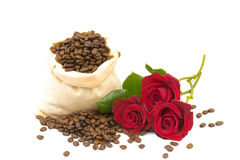 Coffeebeans and roses 2 Royalty Free Stock Photo