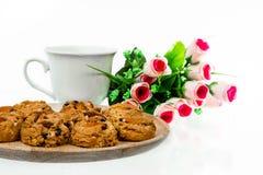 Coffeebreak. Coffee or tea and almond cookkies for break royalty free stock images