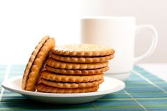 Coffeebreak  with cookies Royalty Free Stock Images