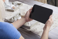 Coffeebreak with tablet mock up Stock Photography