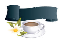Coffeecup. With banner and flower Royalty Free Stock Image