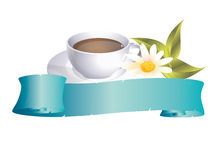 Coffeecup. With banner and flower Royalty Free Stock Photos