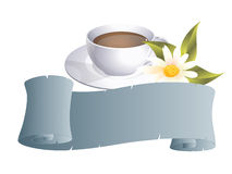 Coffeecup. With banner and flower Royalty Free Stock Images