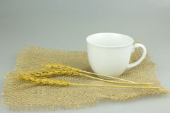 Coffeecup with wheat on gunny textile. Hot Coffeecup with wheat on gunny textile Stock Photography