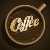 CoffeeCup1. Vector realistic cup of coffee and Coffee text. All elements are layered separately in vector file Royalty Free Stock Images