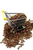 coffeed购物的台车豆隔绝了设计的概念 库存图片