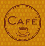 Coffeehouse Cafe sign. With coffee beans in the background Royalty Free Stock Images