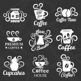 Coffeehouse of coffee shop vector icons templates. Coffeehouse of coffee shop vector logo templates.  icons set of coffee cup or mug and beans with cupcakes for Royalty Free Stock Photography