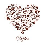 Vector coffeehouse cafe heart poster coffee cups. Coffeehouse heart poster of coffee cups and stem for cafe or cafeteria and coffeeshop. Vector design of coffee Stock Photos
