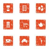 Coffeehouse icons set, grunge style. Coffeehouse icons set. Grunge set of 9 full face vector icons for web isolated on white background Stock Image