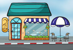 A Coffeehouse. Illustration of a coffeehouse near the street Stock Photography