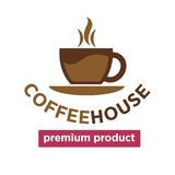 Coffee house, cafeteria or cafe vector cup steam icon template Royalty Free Stock Image