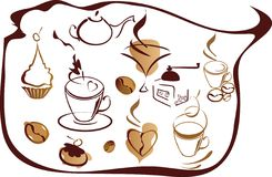coffeelementset Stock Illustrationer