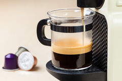 Coffeemaker brewing espresso coffee Royalty Free Stock Image