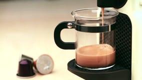 Coffeemaker brewing espresso coffee stock video