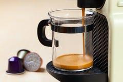 Coffeemaker brewing espresso coffee Royalty Free Stock Photo