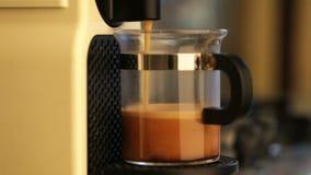 Coffeemaker brewing espresso coffee stock video footage