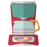 CoffeeMaker-04. Coffee machine isolated on white background. Espresso making machine brewing two cups of coffee. Vector illustration Royalty Free Stock Photos
