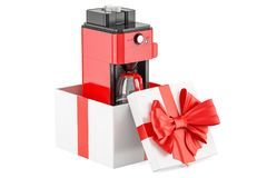 Coffeemaker or coffee machine oven inside gift box, gift concept. 3D rendering isolated on white background Stock Photos