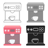 Coffeemaker icon in cartoon style isolated on white background. Household appliance symbol stock vector illustration. Stock Photography