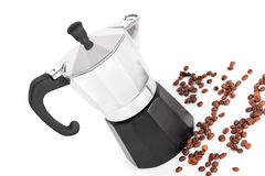 Coffeepot and coffee beans Stock Photos