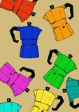 Coffeepot colorful pattern Royalty Free Stock Images