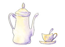 Coffeepot and cup. Watercolor painting isolated Royalty Free Stock Photo