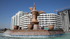 Coffeepot fountain in Fujairah stock video