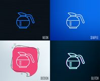 Coffeepot line icon. Coffee drink sign. Glitch, Neon effect. Coffeepot line icon. Coffee Hot drink sign. Brewed fresh beverage symbol. Trendy flat geometric Royalty Free Stock Image