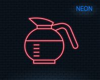 Coffeepot line icon. Coffee drink sign. Neon light. Coffeepot line icon. Coffee Hot drink sign. Brewed fresh beverage symbol. Glowing graphic design. Brick wall Royalty Free Stock Images