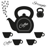 Coffeepot made from kettlebell with kettlebell and set of cups. Fully  coffeepot made from kettlebell with kettlebell and set of cups Stock Photos