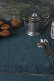 Coffeepot, milk and homemade oatmeal cookies Royalty Free Stock Image