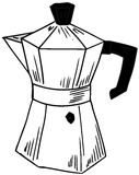 Coffeepot. Sketch representing an isolated coffeepot Royalty Free Stock Photography