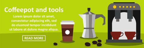 Coffeepot and tools banner horizontal concept. Flat illustration of coffeepot and tools banner horizontal vector concept for web Royalty Free Stock Photos