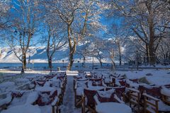 Coffees shops tables chairs in the snow ice winter season trees road in Ioannina city Greece. Coffees shops tables chairs in the snow ice in winter season in stock photography