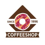 Coffeeshop, cafeteria or cafe vector icon template Stock Photography